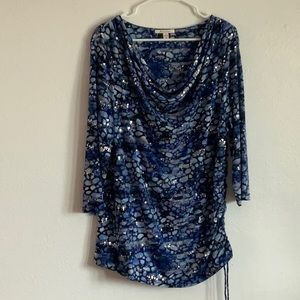 Sequined Blue print JM Collection top